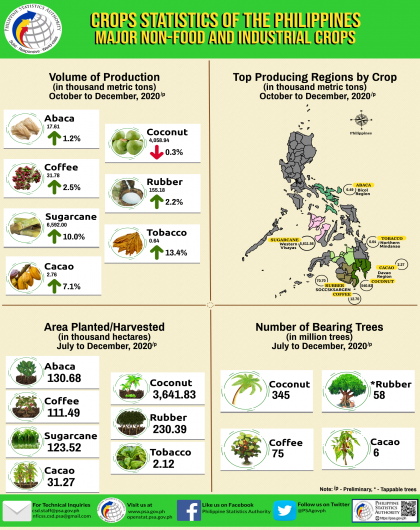 Major Non-Food and Industrial Crops Statistics, October-December 2020