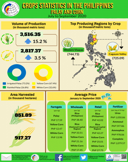 Palay and Corn Statistics, July to September 2020